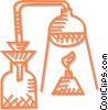Vector Clip Art graphic  of a beakers and test tube