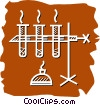 Vector Clipart graphic  of a Beakers Flasks and Test Tubes