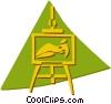 Vector Clip Art graphic  of a easel and picture