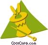 Vector Clip Art graphic  of a magicians hat with rabbit