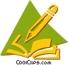 Vector Clipart picture  of a book and pencil
