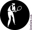 Vector Clipart graphic  of a tennis player
