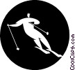 downhill skiing Vector Clipart graphic