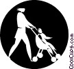 Vector Clip Art graphic  of a woman pushing a stroller
