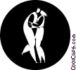 Vector Clip Art graphic  of a dancers