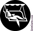 Vector Clip Art graphic  of a person relaxing on a swing