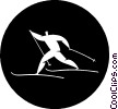 cross-country skiing Vector Clip Art graphic