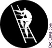 Vector Clipart picture  of a person climbing a ladder