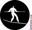 Vector Clip Art image  of a person on a tightrope