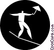 person on a tightrope with an umbrella Vector Clip Art picture