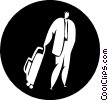 businessman with luggage Vector Clipart graphic
