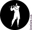 person playing the flute Vector Clipart image
