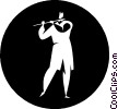 Vector Clipart illustration  of a person playing the flute