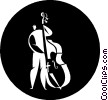Vector Clipart graphic  of a man playing a stand up bass
