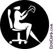Vector Clip Art image  of a businesswoman sitting in a