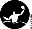 Vector Clip Art graphic  of a water polo player