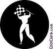 Vector Clipart image  of a person with a checkered flag