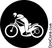 Vector Clipart graphic  of a person riding a motorcycle