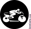 Vector Clipart illustration  of a person riding a motorcycle