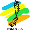 Vector Clipart picture  of a hand holding a feather