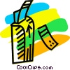 Vector Clip Art image  of a Parking Lots and Meters