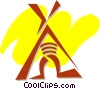 Vector Clipart graphic  of a Teepees and Tents