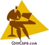 Vector Clip Art graphic  of a person working at a computer