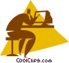 Vector Clip Art image  of a person working at the computer