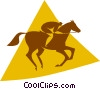 Vector Clip Art graphic  of a person riding a horse