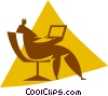 Vector Clip Art graphic  of a person working on a computer