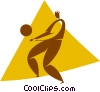 Vector Clip Art image  of a volleyball player