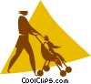 Vector Clip Art image  of a woman pushing a stroller