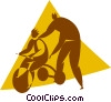Vector Clip Art graphic  of a child learning to ride a