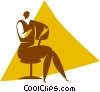 Vector Clipart illustration  of a person sitting on a chair