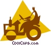 Vector Clipart graphic  of a person on a tractor