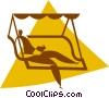 person relaxing on a swing chair Vector Clipart picture