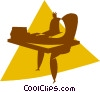Vector Clip Art image  of a person sitting at a desk