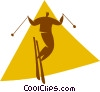 Vector Clip Art image  of a downhill skiing