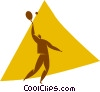 Vector Clipart illustration  of a tennis player