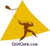 Vector Clipart picture  of a person flying a kite