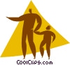 Vector Clip Art graphic  of a parent with a child
