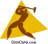 Vector Clipart graphic  of a person using a sledge hammer