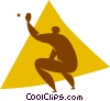 baseball catcher Vector Clipart graphic
