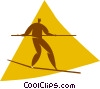 Vector Clip Art picture  of a person on a tightrope