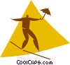 person on a tightrope with an umbrella Vector Clip Art graphic