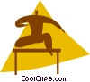 person jumping over hurdles Vector Clip Art graphic