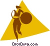 Vector Clip Art graphic  of a woman with a ball