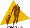 businessman with luggage Vector Clipart picture