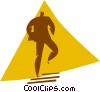 man walking up a flight of stairs Vector Clipart image