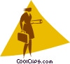 Vector Clip Art graphic  of a businesswoman with a briefcase